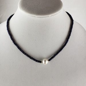 """Jewelry - Sapphire & pearl 18"""" necklace-NWT"""